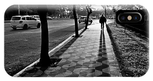 Lonely Man Walking At Dusk In Sao Paulo IPhone Case