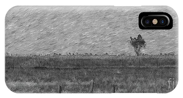 Simple iPhone Case - Lonely Tree Pano Painterly Grayscale by Jennifer White