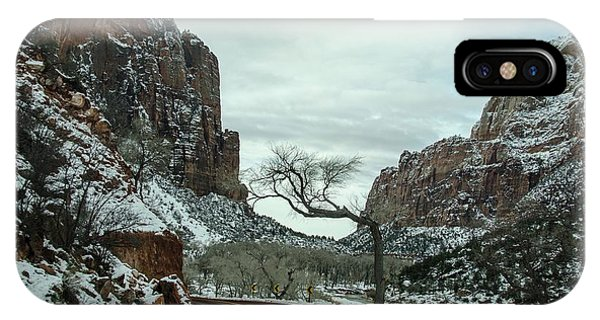IPhone Case featuring the photograph Lonesome Snowy Winter In Zion by Gaelyn Olmsted