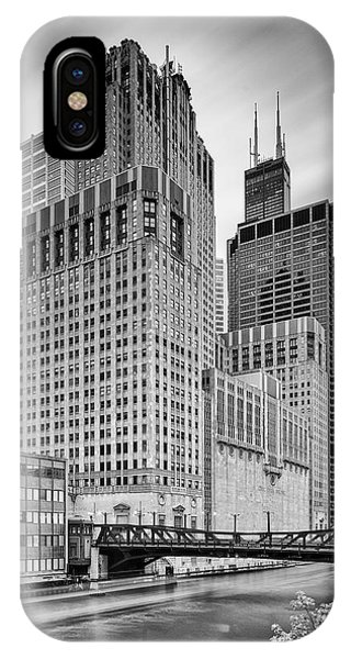 Chicago River iPhone Case - Long Exposure Image Of Chicago River Civic Opera House And Top Of The Willis Tower - Illinois by Silvio Ligutti