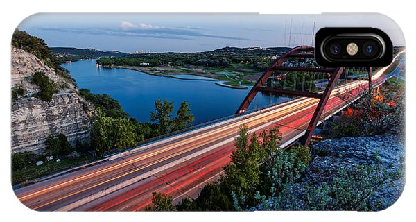 Long Exposure View Of Pennybacker Bridge Over Lake Austin At Twilight - Austin Texas Hill Country IPhone Case