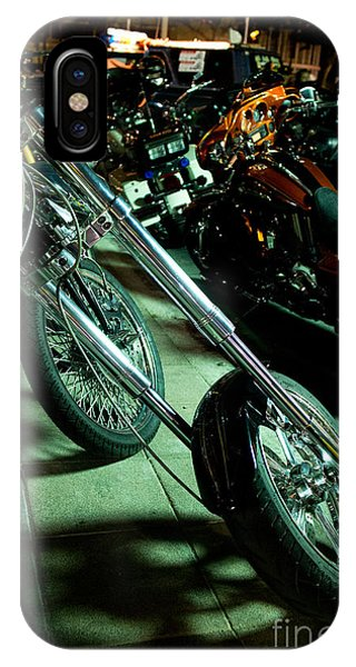 Long Front Fork And Wheel Of Chopper Bike At Night IPhone Case