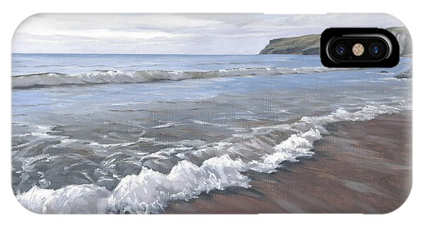IPhone Case featuring the painting Long Waves At Trebarwith by Lawrence Dyer