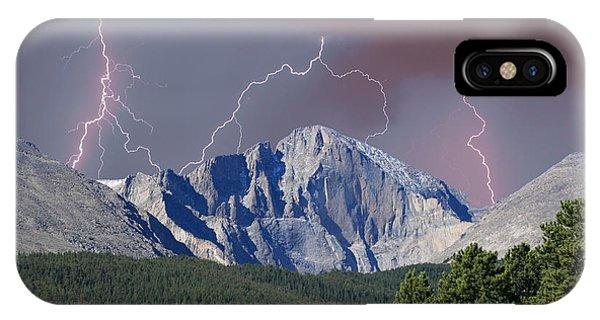 Longs Peak Lightning Storm Fine Art Photography Print IPhone Case