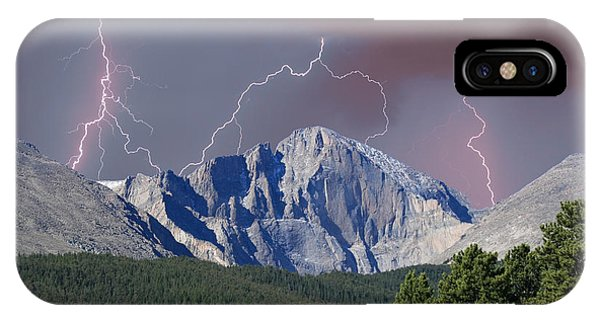 Longs Peak Lightning Storm Fine Art Photography Print IPhone Case