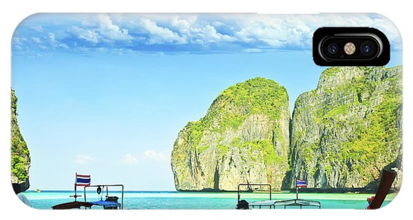 Maya iPhone Case - Longtail Boats At Maya Bay by MotHaiBaPhoto Prints