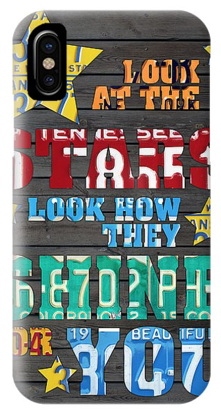 Look At The Stars Coldplay Yellow Inspired Typography Made Using Vintage Recycled License Plates IPhone Case
