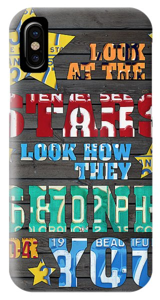 Coldplay iPhone Case - Look At The Stars Coldplay Yellow Inspired Typography Made Using Vintage Recycled License Plates by Design Turnpike