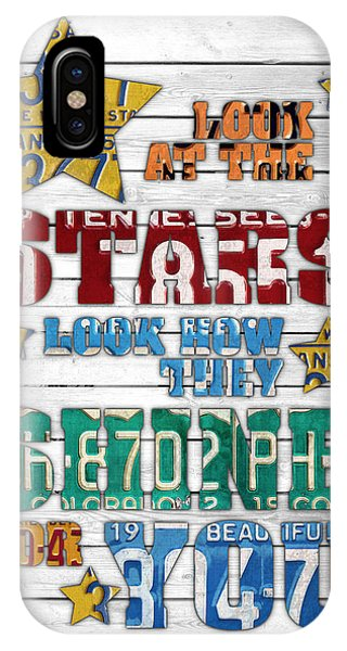 Coldplay iPhone Case - Look At The Stars Coldplay Yellow Inspired Typography Made Using Vintage Recycled License Plates V2 by Design Turnpike