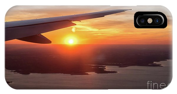 Looking At Sunset From Airplane Window With Lake In The Backgrou IPhone Case