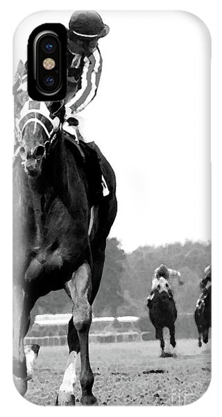 Track iPhone Case - Looking Back, 1973 Secretariat, Stretch Run, Belmont Stakes by Thomas Pollart