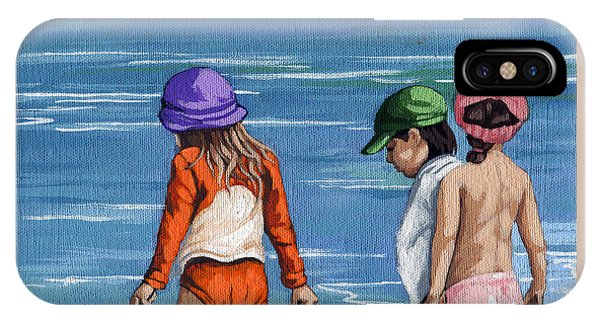 Looking For Seashells Children On The Beach Figurative Original Painting IPhone Case