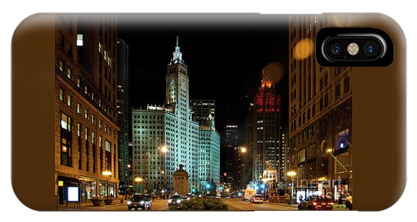 Looking North On Michigan Avenue At Wrigley Building IPhone Case