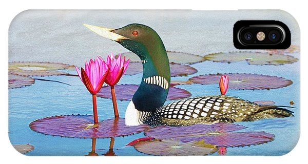 Loon iPhone Case - Loon And Lotus by Laura D Young