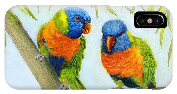 IPhone Case featuring the painting Lorikeet Pair by Phyllis Howard