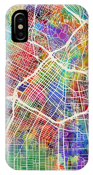 Los Angeles iPhone X Case - Los Angeles City Street Map by Michael Tompsett