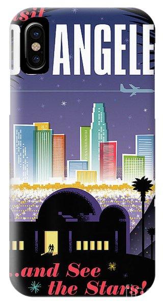 Retro iPhone Case - Los Angeles Poster - Retro Travel  by Jim Zahniser