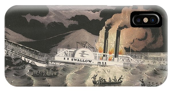 Accident iPhone Case - Loss Of The Steamboat Swallow, While On Her Trip From Albany To New York, 1845 by Currier and Ives