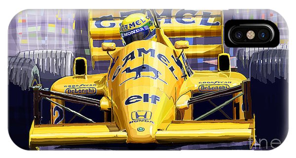 Automotive iPhone Case - Lotus 99t Spa 1987 Ayrton Senna by Yuriy Shevchuk