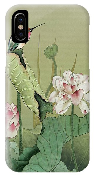 Lotus Flower And Hummingbird IPhone Case