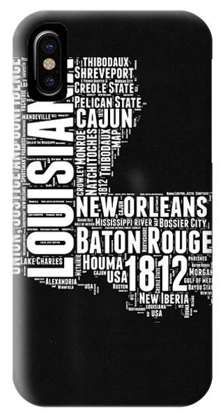 Baton Rouge iPhone Case - Louisiana Black And White Word Cloud Map by Naxart Studio