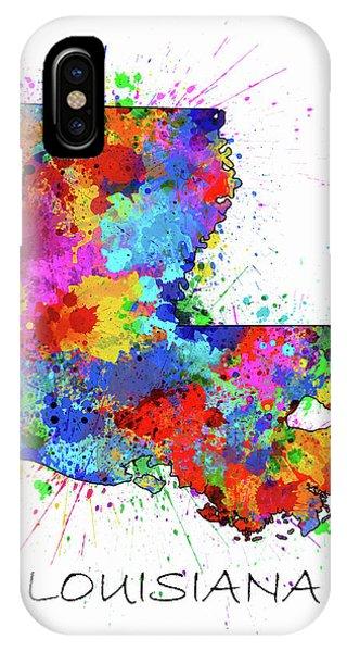 Baton Rouge iPhone Case - Louisiana Map Color Splatter by Bekim Art
