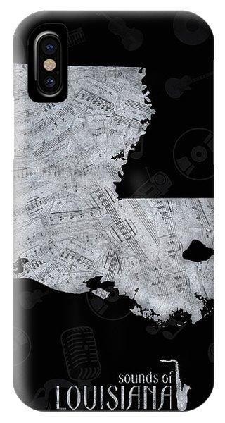 Baton Rouge iPhone Case - Louisiana Map Music Notes 2 by Bekim Art
