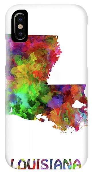Baton Rouge iPhone Case - Louisiana Map Watercolor by Bekim Art