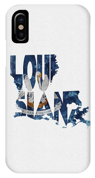Baton Rouge iPhone Case - Louisiana Typographic Map Flag by Inspirowl Design