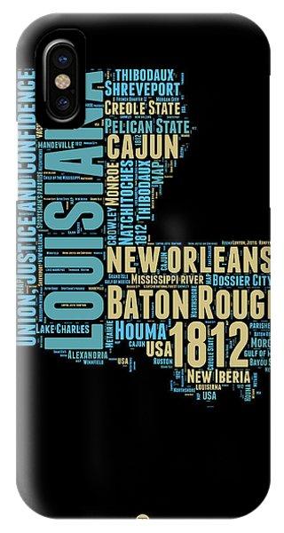 Baton Rouge iPhone Case - Louisiana Word Cloud Map 1 by Naxart Studio