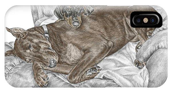 Lounge Lizards - Doberman Pinscher Puppy Print Color Tinted IPhone Case