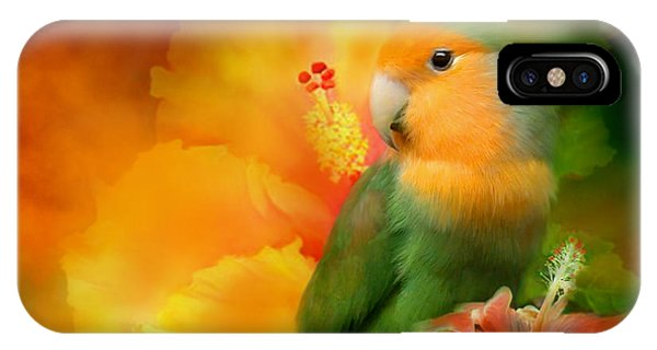 Parrot iPhone Case - Love Among The Hibiscus by Carol Cavalaris