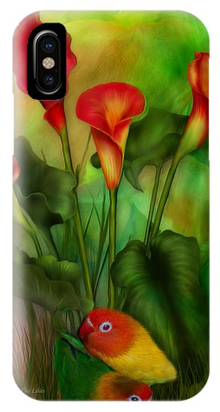Lovebird iPhone Case - Love Among The Lilies  by Carol Cavalaris