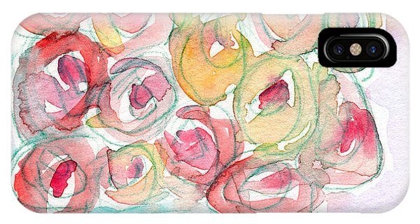 Watercolor iPhone Case - Love And Roses- Art By Linda Woods by Linda Woods