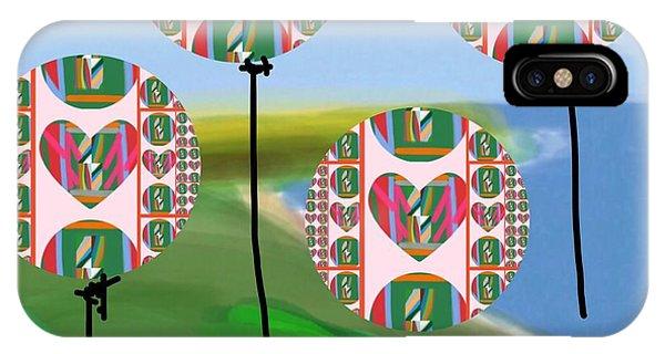 The Art Of Gandy iPhone Case - Love Balloons Protecting Guam by Joan Ellen Gandy