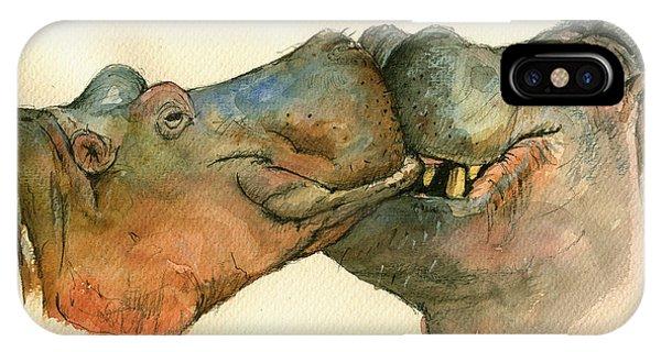 Love Between Hippos IPhone Case