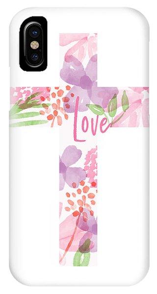 Cross iPhone X Case - Love Floral Cross- Art By Linda Woods by Linda Woods