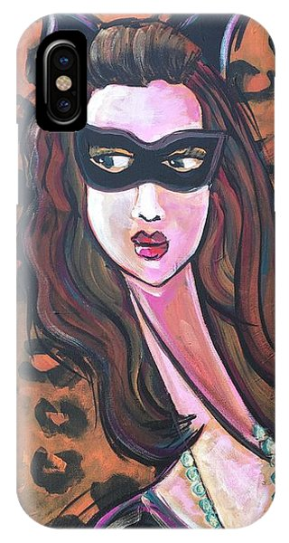IPhone Case featuring the painting Love For Cat Woman  by Laurie Maves ART