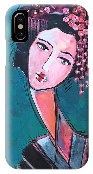 IPhone Case featuring the painting Love For Geisha Girl by Laurie Maves ART