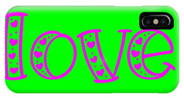 IPhone Case featuring the digital art Love In Magenta And Green by Bee-Bee Deigner