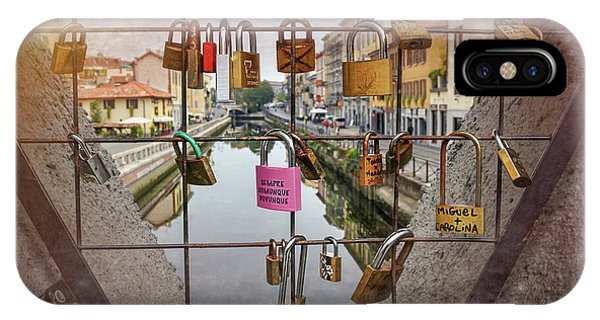 Love Lock Triangle At Naviglo Grande Milan Italy  IPhone Case