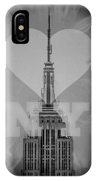 Empire State Building iPhone Case - Love New York Bw by Az Jackson