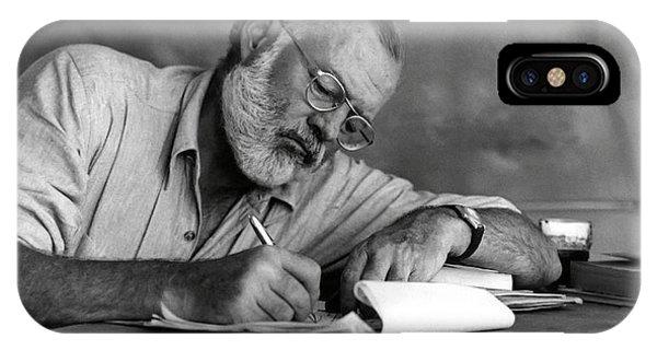 Nobel iPhone Case - Love Of Writing - Ernest Hemingway by Daniel Hagerman