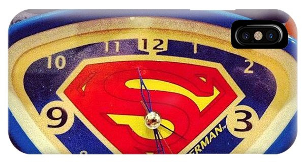 Superhero iPhone Case - Superman Clock by Joan McCool