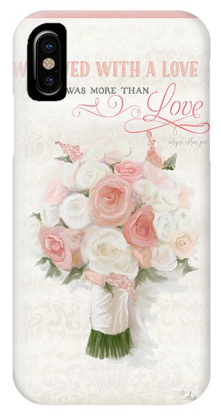 Bridal iPhone Case - Love Typography Bridal Bouquet Damask Lace Coral Peach Blush by Audrey Jeanne Roberts
