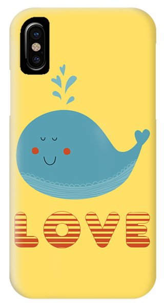 Whales iPhone Case - Love Whale Cute Animals by Edward Fielding