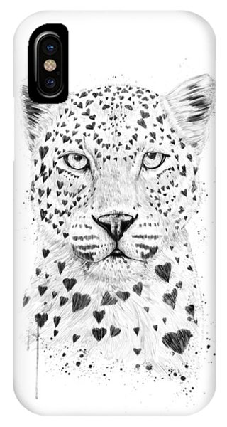 Black And White iPhone X Case - Lovely Leopard by Balazs Solti