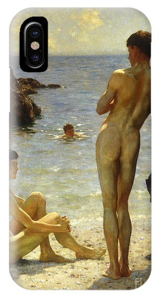 Oil iPhone Case - Lovers Of The Sun by Henry Scott Tuke