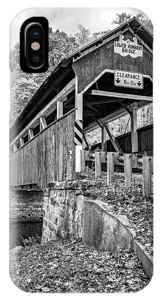 Somerset County iPhone Case - Lower Humbert Covered Bridge 2 Bw by Steve Harrington