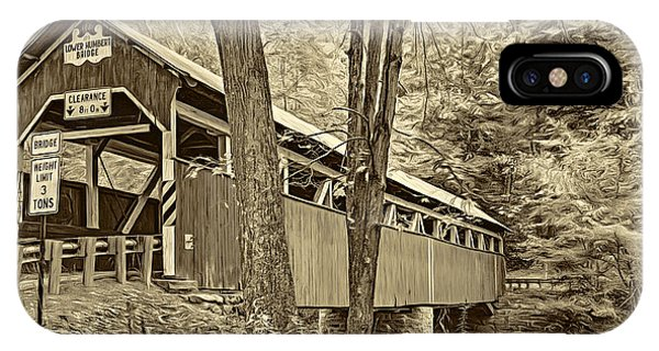 Somerset County iPhone Case - Lower Humbert Covered Bridge - Paint Sepia by Steve Harrington